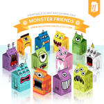 Monsters Favor Gift Box - Party Printables
