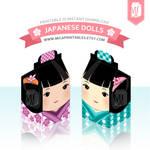 Kawaii Japanese Kokeshi Doll Gift Box Template
