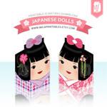 Kawaii Japanese Kokeshi Dolls Milk Carton Template