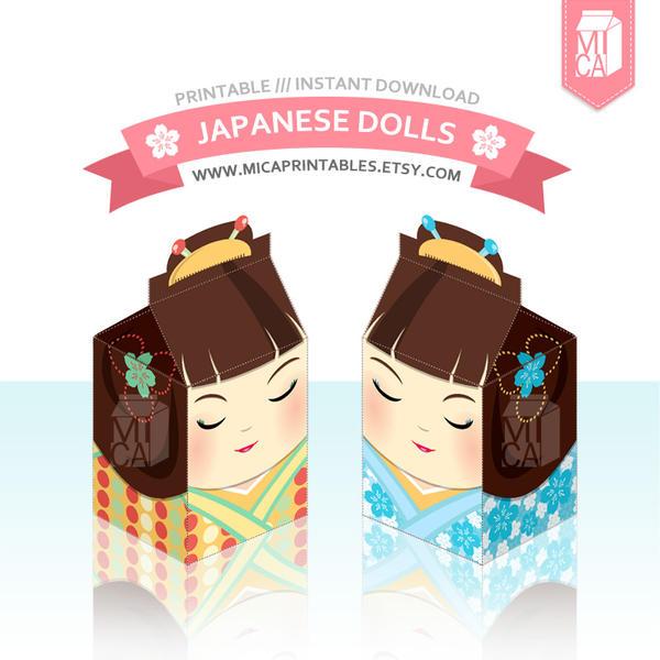 Kawaii Japanese Kokeshi Dolls Gift Box Template By