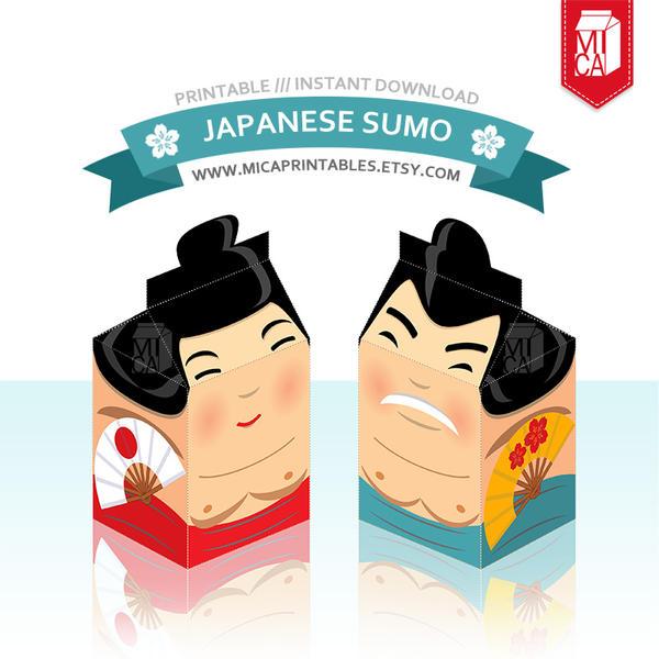 Cute Japanese Sumo Printable Milk Carton Template by MicaPrintables ...