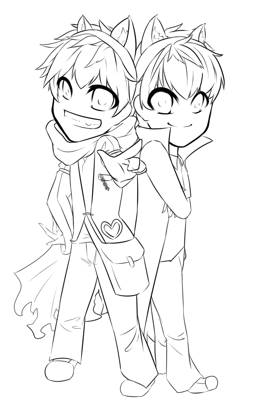 Lucas - Gaia Commission - Chibi Couple Lineart by ...