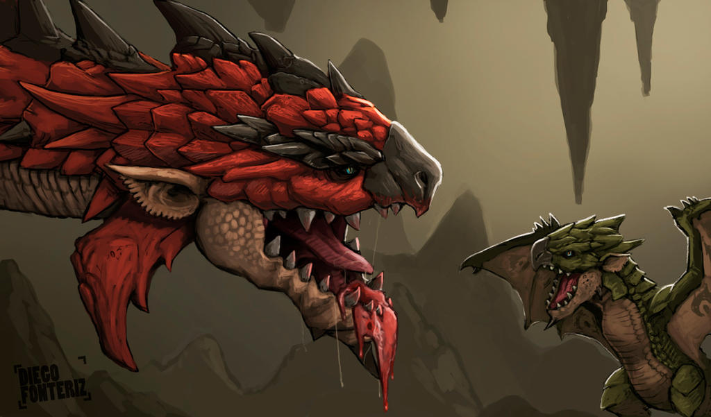 Rathalos and baby Rathian by FonteArt