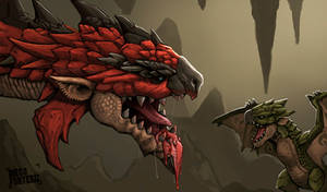 Rathalos and baby Rathian
