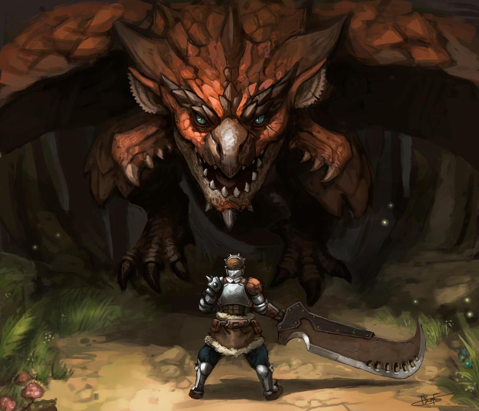 Monster Hunter: Rathalos Vs Hunter by FonteArt