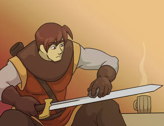 Ko-Fi Promo Graphic: Cain Sharpening His Sword by neo-dragon