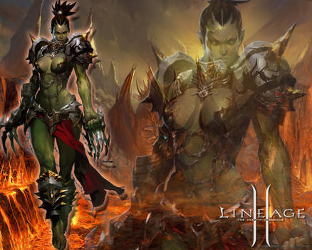 Lineage Female Orc Wallpaper by Edaine