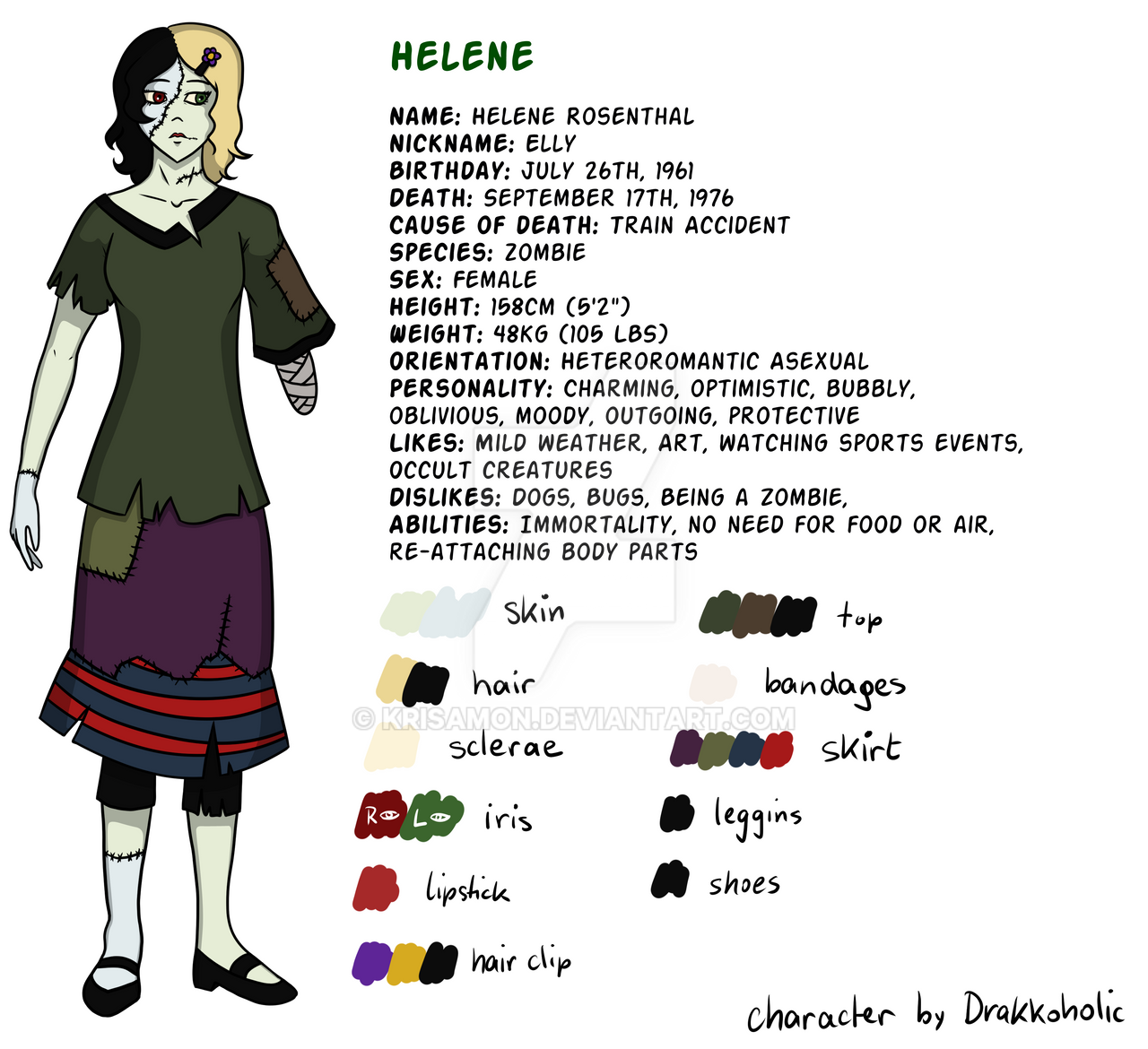 Reference Sheet: Helene Rosenthal by KrisAmon on DeviantArt