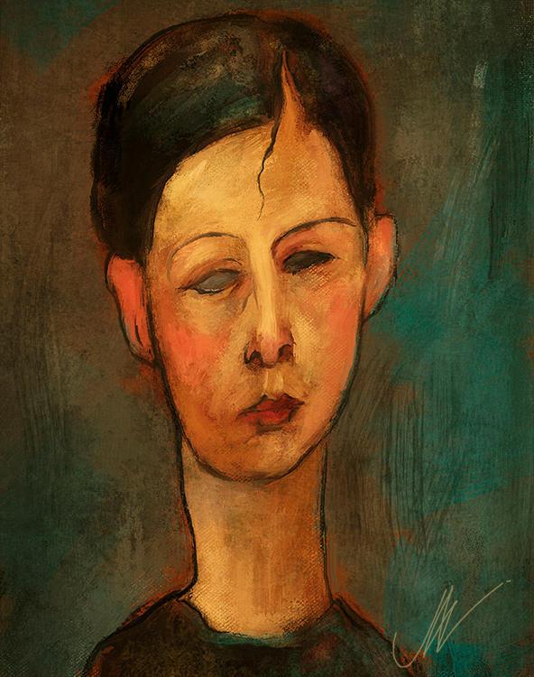 Modgliani-style portrait.