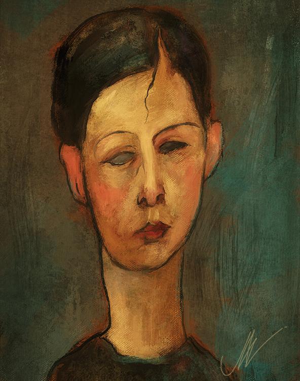 Modgliani-style portrait. by JALpix