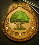 Oak tree leather flask WIP2 by Eclectixx