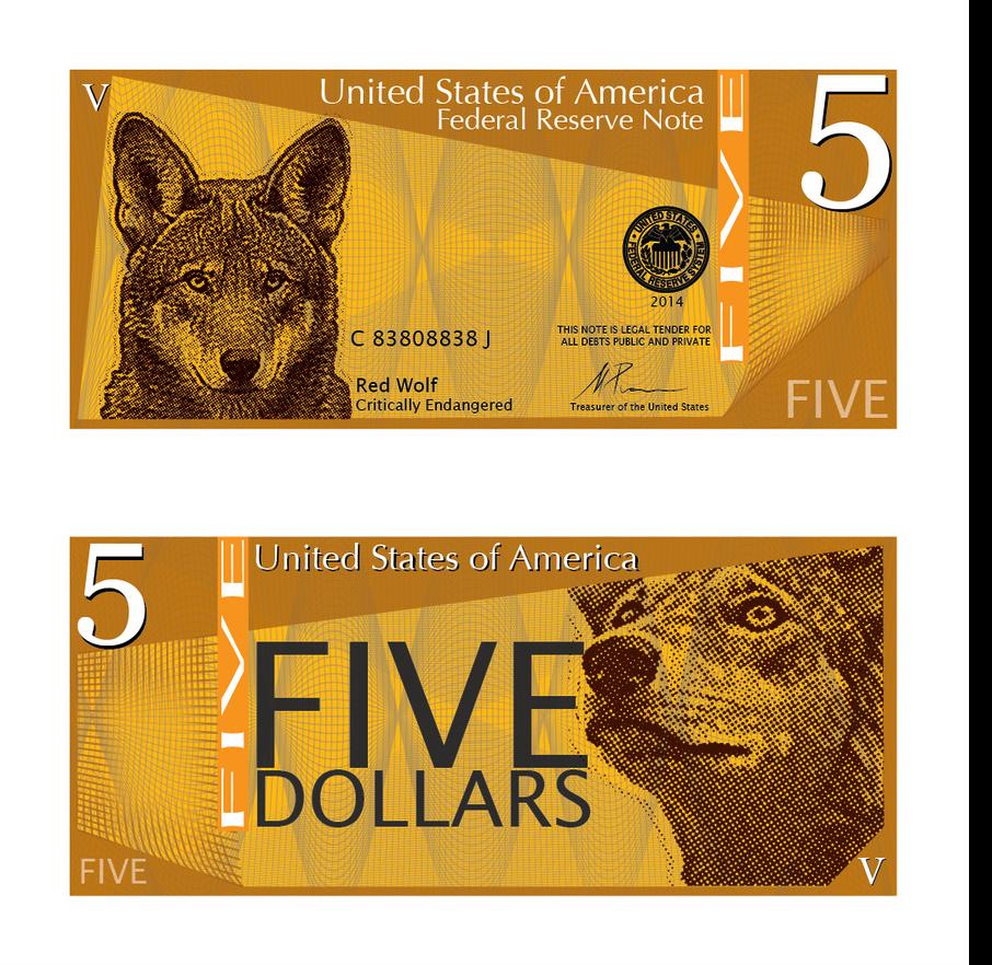 Red Wolf Five Dollars by MathewScotArt