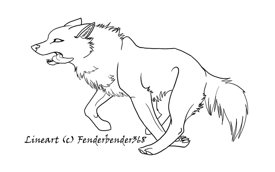 Wolf sitting coloring pages for Bender fender template