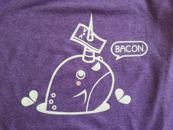Screen Printed Narwhal Bacon Shirt by orangecircle