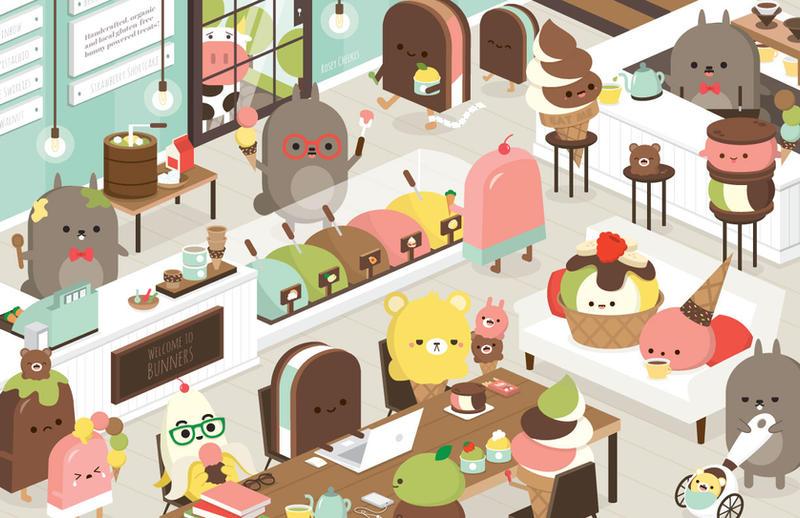 Bunny Ice Cream Parlour by orangecircle