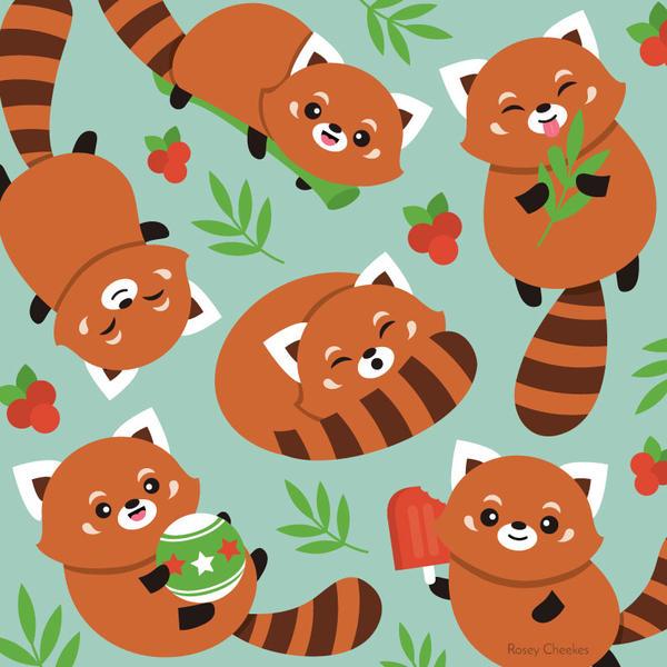Red Pandas by RoseyCheekes