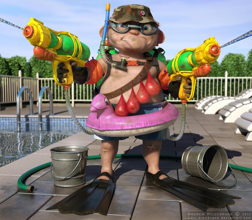 Water Warfare - CG Society Challenge Entry by drewbrand