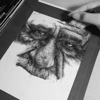 Burdened wip#2 (pen drawing)