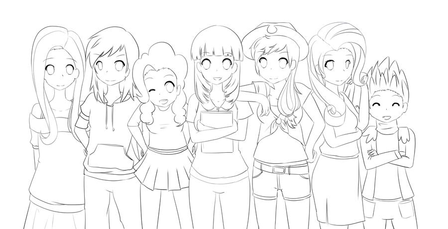 My Little Pony Anime Coloring Pages : My little pony friendship is magic lineart by