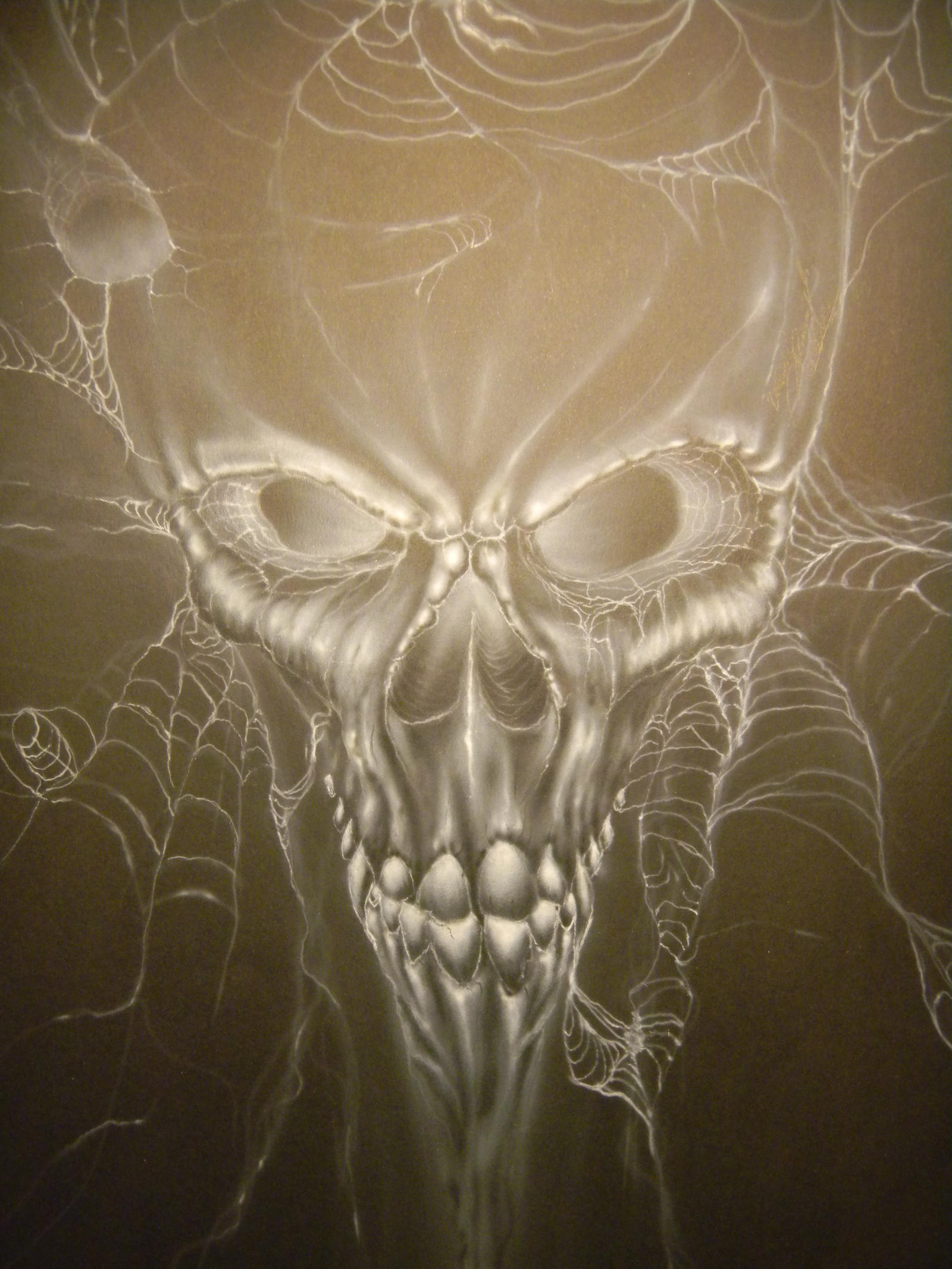 skull in web by airbrushkluczu
