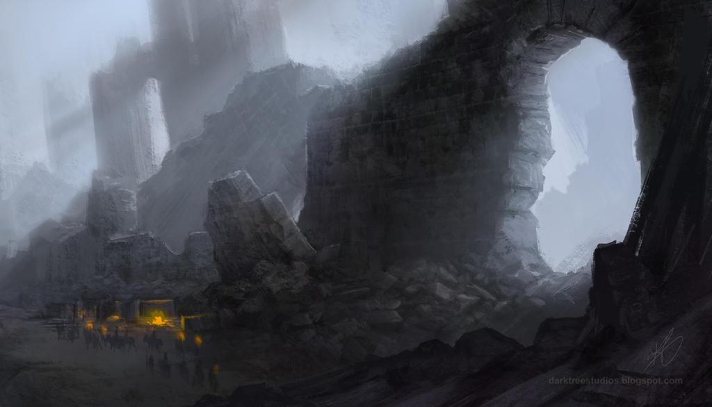 Harrenhal ruins concept art by grendelgrack on deviantart