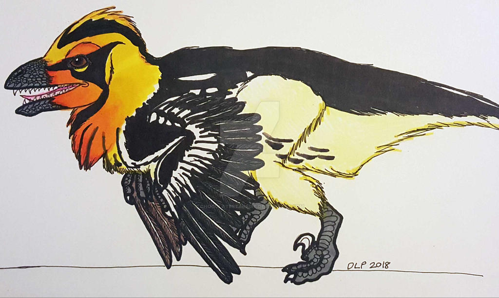 Blackburnian Warbler Deinonychus by ChocolateStarfire