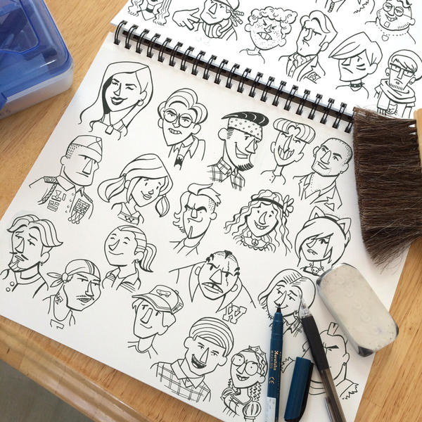 High School Kids Pen Sketch by RockyDavies