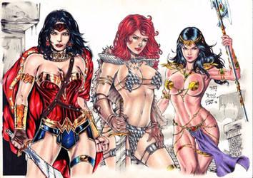 wonder woman,Red Sonja and dejah thoris by Medsonlima