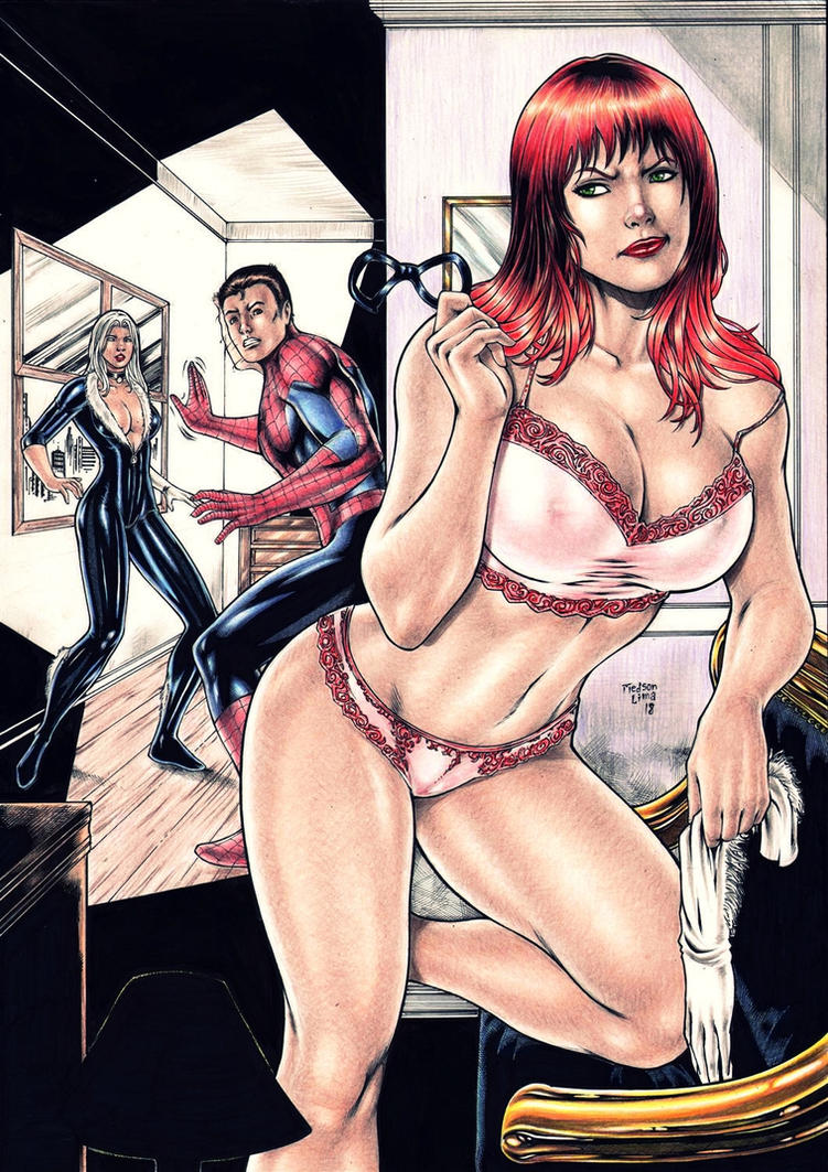 Mary Jane, Spider-man and Black Cat by Medsonlima