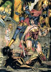 Wonder Woman and Big Barda vs Furies by Medsonlima