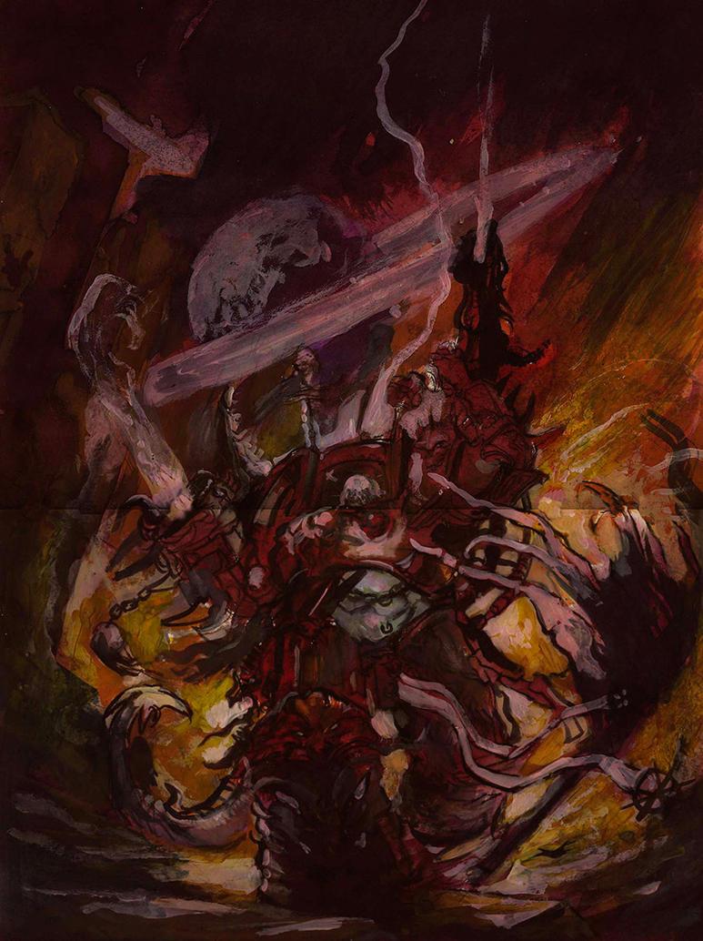 WIP, Warrior of Slaanesh, acrylic by Yogh-Art