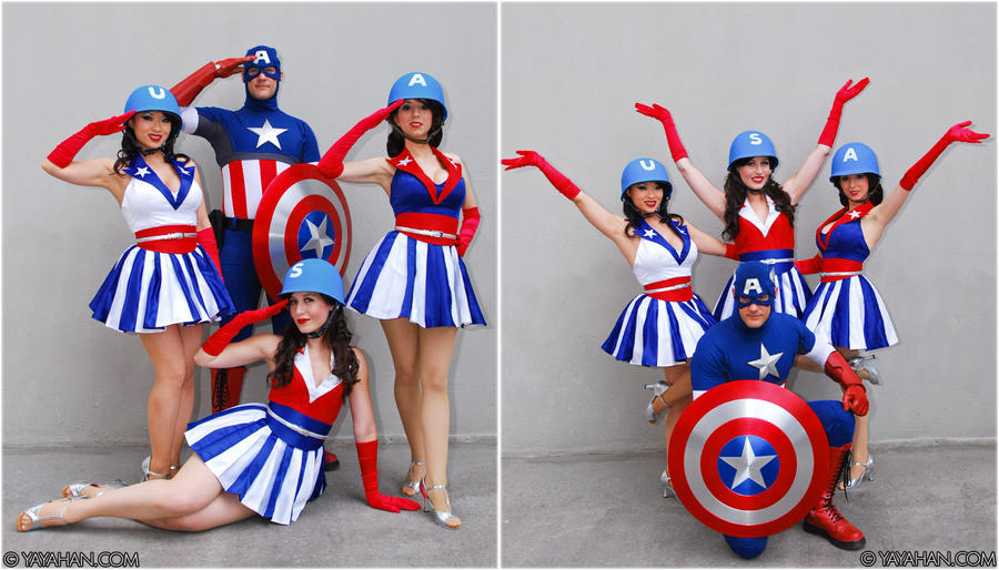 Captain America + USA Girls by yayacosplay