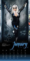 2013 Calendar layout - Black Cat - January