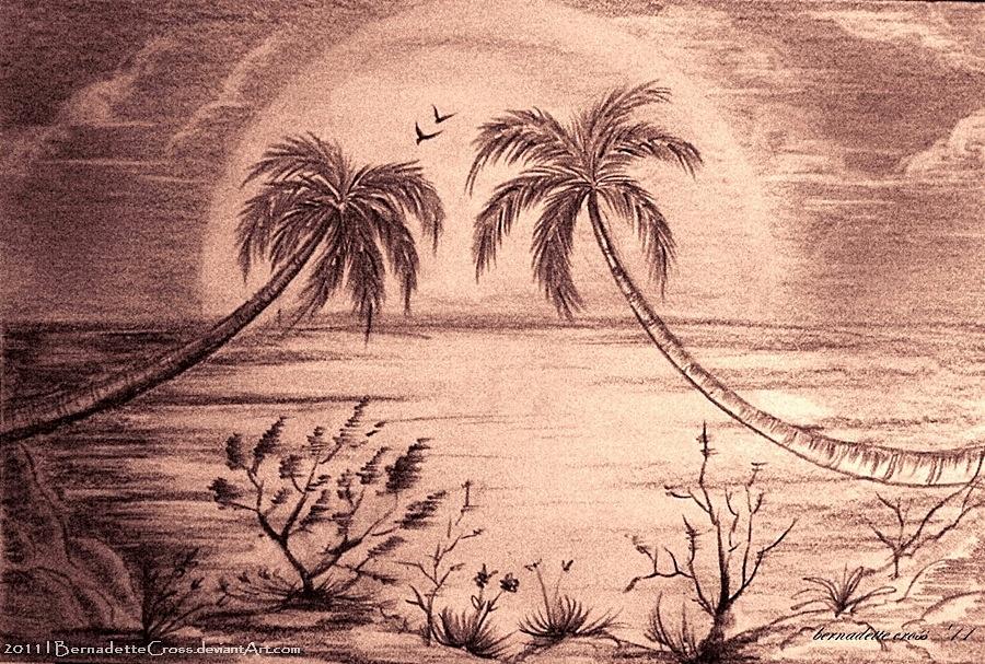 Lovely palm trees_sunset by BernadetteCross