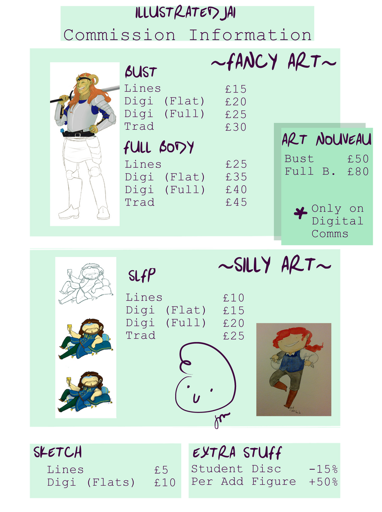 Commission Prices as of June 2016 by IllustratedJai