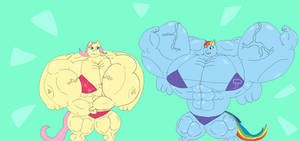 Buffed up rainbow dash and fluttershy