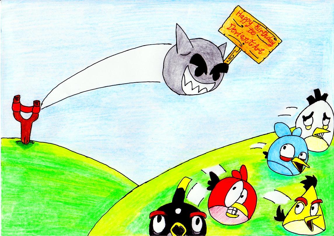 Happy 12th Fella Meet Angry Birds by lordtrigonstar