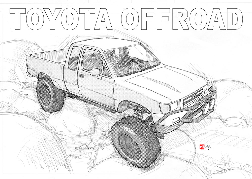 toyota 4x4 pickup offroad by randychen on deviantart