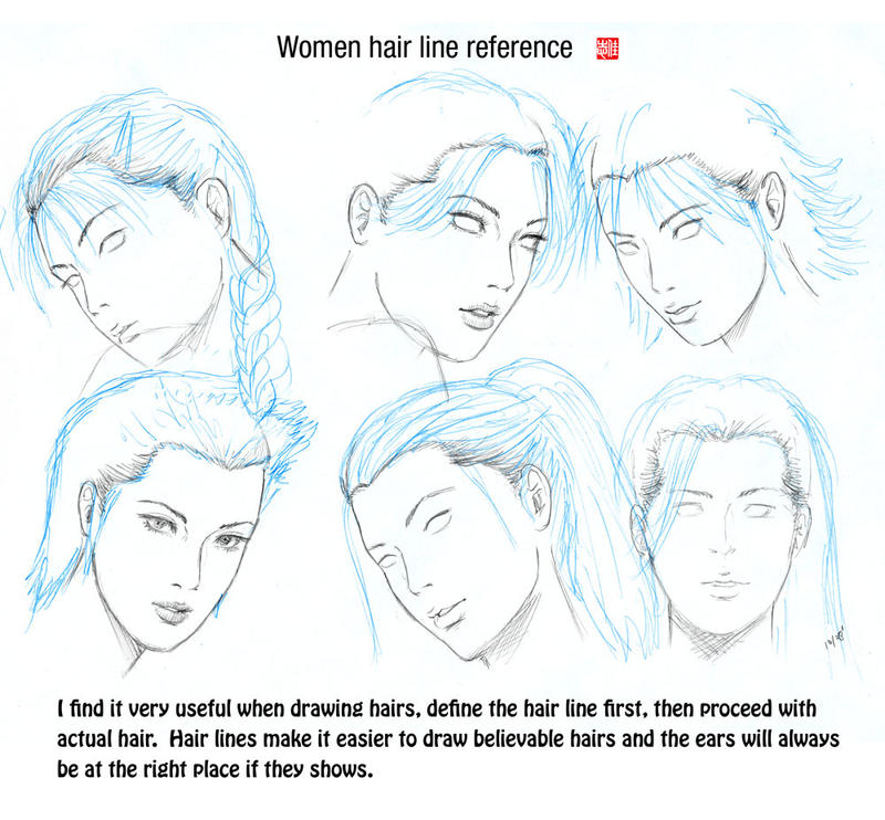 Drawing Hairlines : Hair line reference by randychen on deviantart