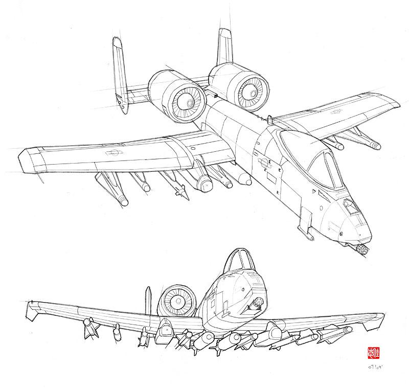 A 10 Thunderbolt Drawing A-10 Thunderbol...