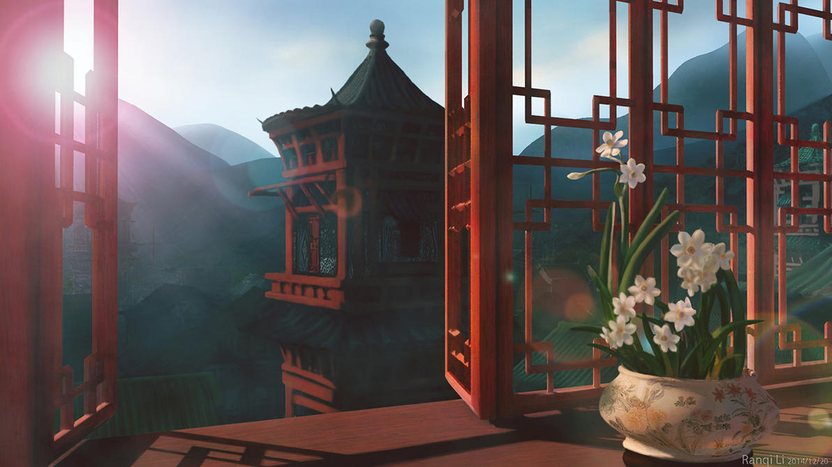 Chinese old fashion village concept by RanqiLi