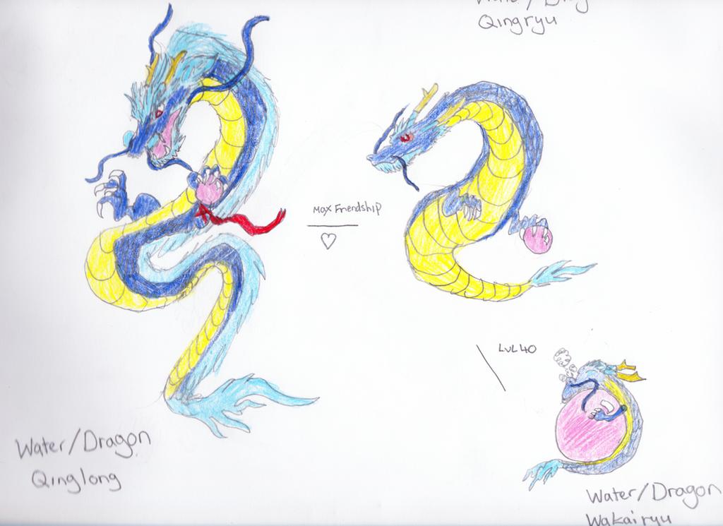 Fakemon: Qinglong, Qingryu, Wakairyu by Wind-Adepts