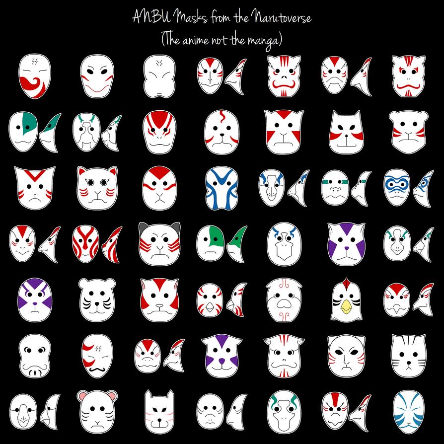 Naruto ANBU Masks by purpledragon42 on DeviantArt