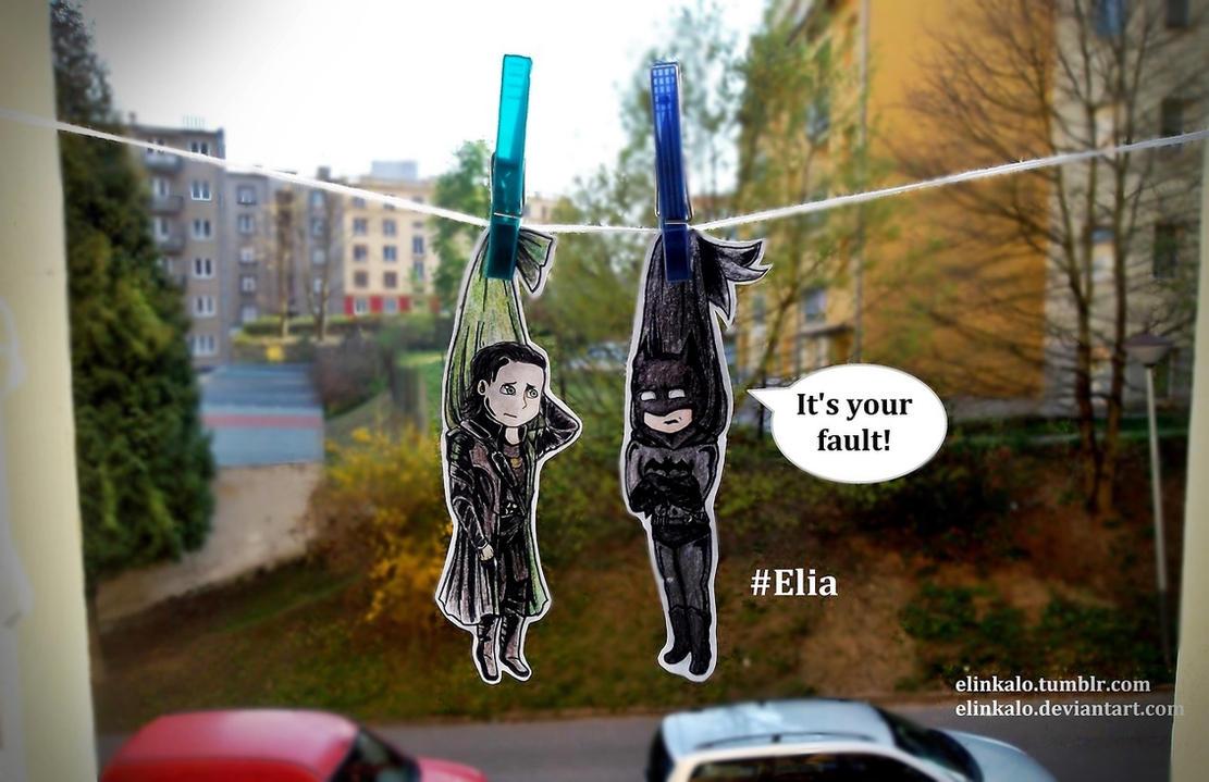 Loki and Batman are Dried by elinkalo