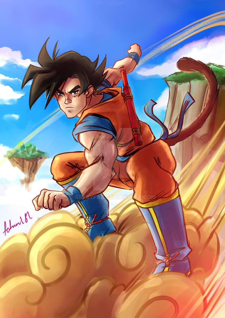 Goku on the magic cloud by ArtByFab