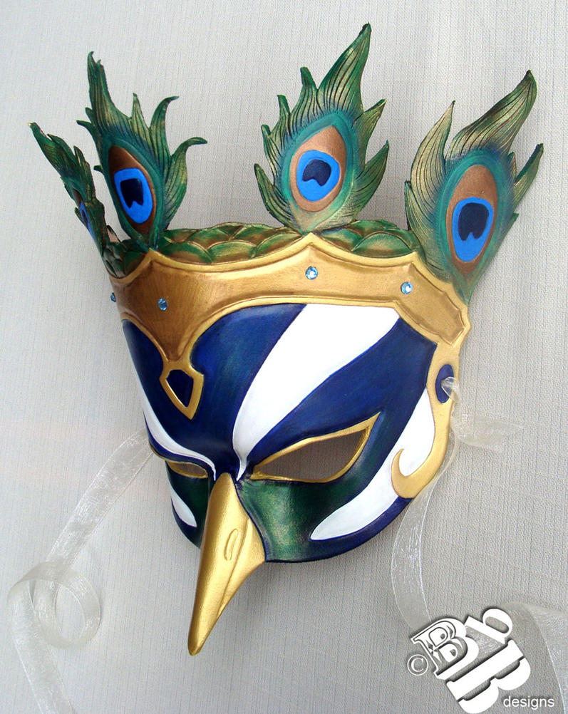 Greek Hera Peacock Leather Mask by b3designsllc