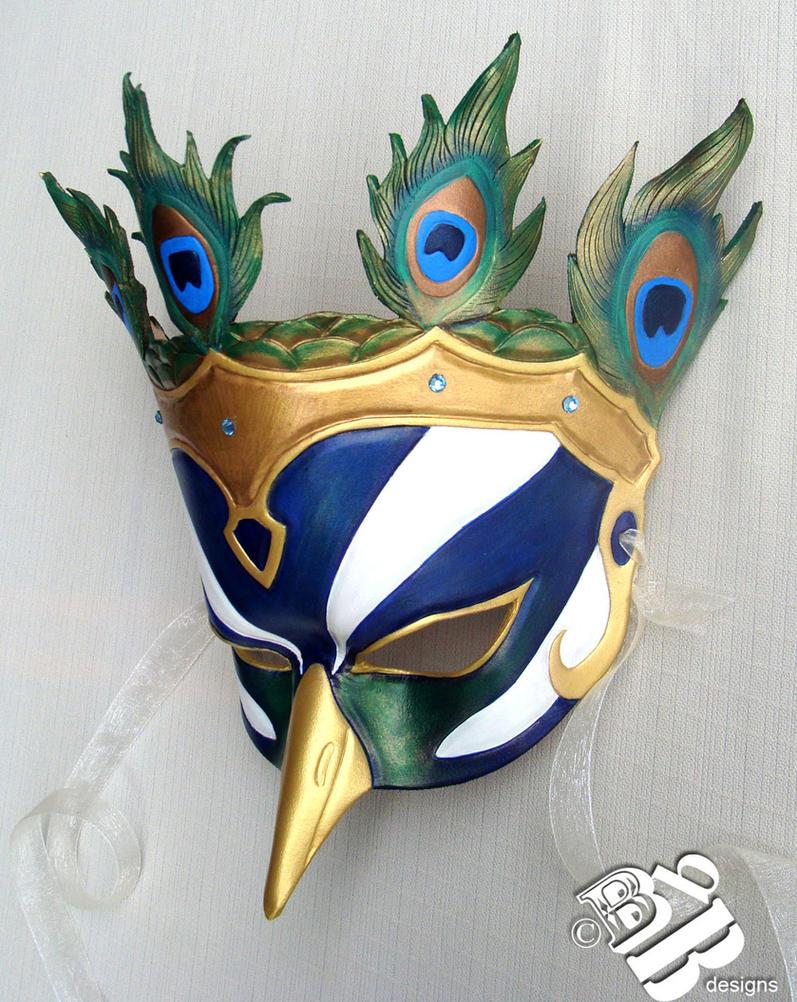 Greek Hera Peacock Leather Mask by b3designsllc
