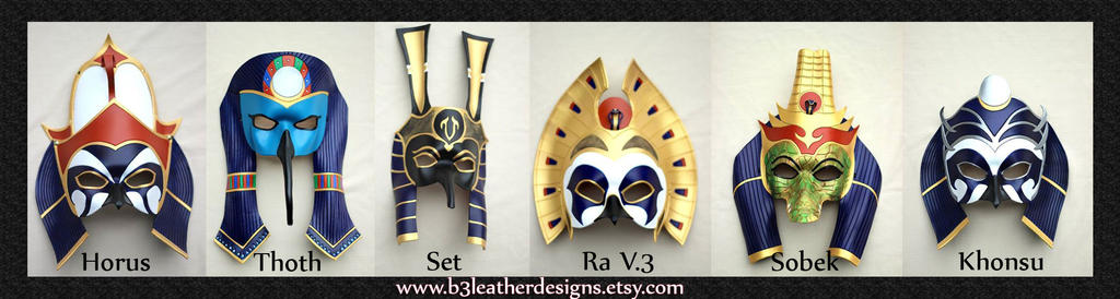 Egyptian Deity Leather Mask Lineup by senorwong