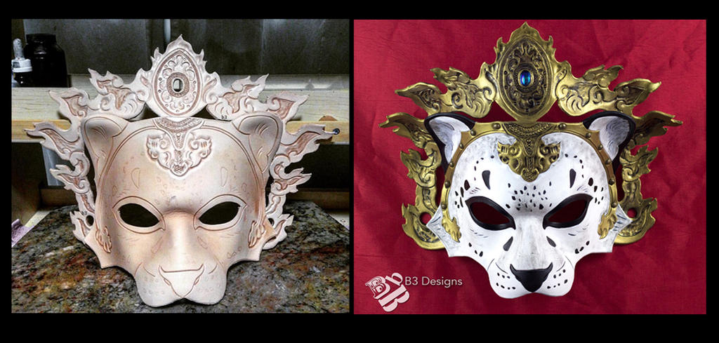 Leather Snow Leopard Mask Before and After Paint by b3designsllc