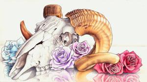 Ram Skull with Roses